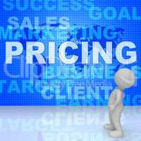 Pricing Words Means Money Outlay 3d Rendering