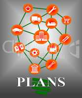 Plans Icons Shows Symbol Objective And Aspire