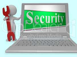 Security Secure Represents Protect Encrypt And Protected 3d Rend