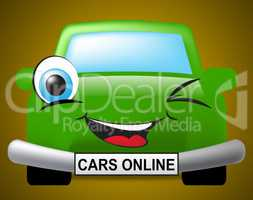 Cars Online Means Vehicles Web And Transport