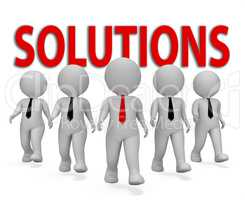 Solutions Businessmen Indicates Solved Success And Successful 3d