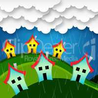 Rainy Houses Indicates Bungalow Property And Apartment