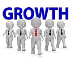 Growth Businessmen Shows Executive Entrepreneurial And Gain 3d R