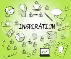 Inspiration Icons Indicates Inspiring Symbol And Positivity