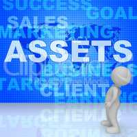 Assets Words Shows Wealth Valuables And Goods 3d Rendering