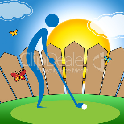 Man Teeing Off Represents Golf Course And Fairway