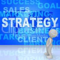 Strategy Words Indicates Solutions Vision And Trade 3d Rendering