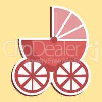 Pram Icon Indicates Parenting Buggy And Perambulator