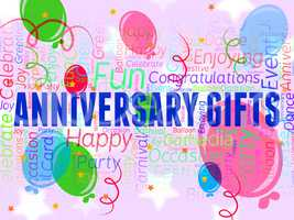 Anniversary Gifts Indicates Marriage Occasion And Gift-Box