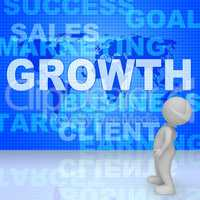 Growth Words Represents Advance Rising And Development 3d Render
