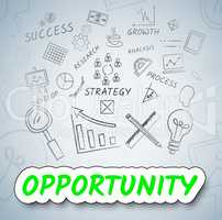 Opportunity Ideas Shows Planning Possibility And Choose