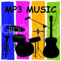 Mp3 Music Showing Melody Listening And Sound Track