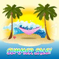 Summer Sale Represents Merchandise Seafront And Vacational