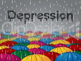 Depression Rain Indicates Lost Hope And Anxiety