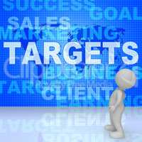 Targets Words Represents Projection Business And Aiming 3d Rende