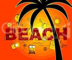 Beach Icons Indicates Seafront Coast And Symbols