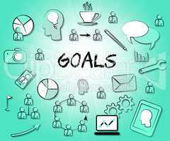 Goals Icons Indicates Aspire Aspiration And Inspiration
