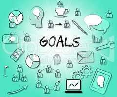 Goals Icons Indicates Aspire Aspiration And Inspiration