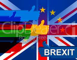 Brexit Thumbs Up Means Great Britain And Leave