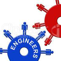 Engineers Cogs Means Mechanic Collaboration And Cogwheel