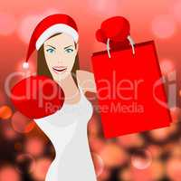Christmas Shopping Woman Shows Retail Sales And X-Mas