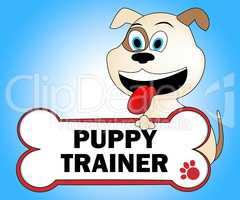 Puppy Trainer Shows Doggie Puppies And Teach