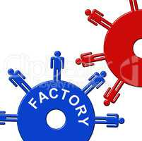 Factory Cogs Represents Gear Wheel And Clockwork