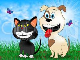 Cat With Dog Indicates Pet Grassy And Pets
