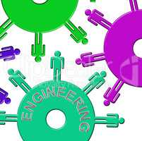 Engineering Cogs Represents Gear Wheel And Clockwork