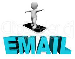Smartphone Email Indicates Send Message And Cellphone 3d Renderi
