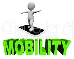 Online Mobility Means Mobile Phone And Cellphones 3d Rendering