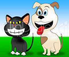 Happy Pets Indicates Domestic Cat And Animal