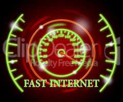 Fast Internet Indicates Web Site And Action