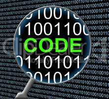Data Code Represents Monitor Digital And Protected