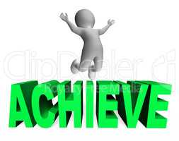 Achieve Character Indicates Man Jump And Achievement 3d Renderin