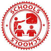 Schools Stamp Represents Learning Educated And Study