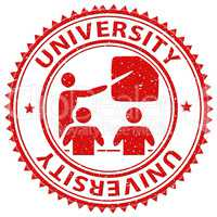 University Stamp Indicates Educational Establishment And Academy