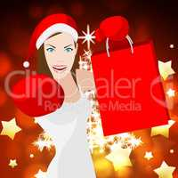 Christmas Shopping Woman Means Retail Sales And Festive