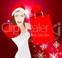Woman Christmas Shopping Shows Retail Sales And Customer