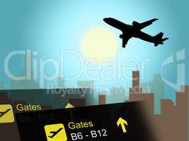 Vacation Flight Indicates Airline Travel And Aviation