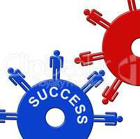 Success Cogs Indicates Gear Wheel And Clockwork