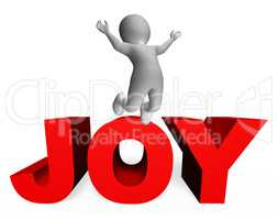 Joy Character Indicates Jubilant 3d Rendering And Joys