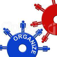 Organize Cogs Indicates Gear Wheel And Arrange