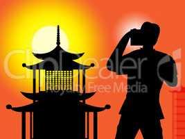 Pagoda Photographer Indicates Orient Chinese And Photographers