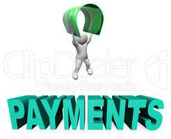Credit Card Payments Means Paying Illustration And Remittance 3d