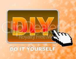 Diy Button Represents Do It Yourself And Contractor