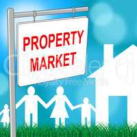 Property Market Sign Indicates For Sale And Apartment