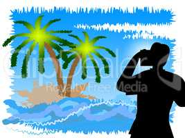 Vacation Photographer Shows Tropical Island And Camera