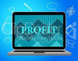 Profit Laptop Represents Web Site And Computer