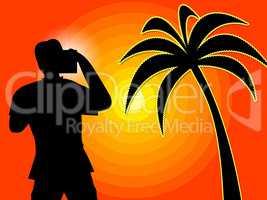 Photographer Beach Represents Tropical Island And Beaches
